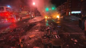 Streets in Baltimore looked like a war zone Tuesday morning after a night of riots, fires and heartbreak.